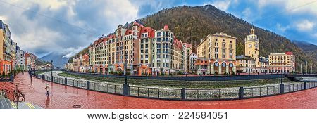 SOCHI, RUSSIA - APRIL 20, 2015: Embankment of the river Mzymta of Rosa Khutor resort