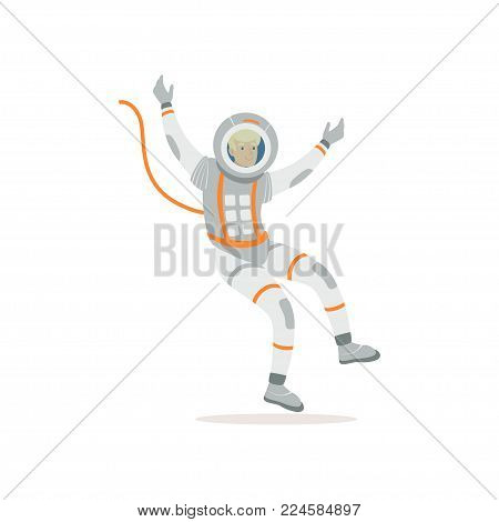 Man training before flight in cosmos. Cartoon cosmonaut character wearing spacesuit. Young astronaut flying in open space. Colorful vector illustration in flat style isolated on white background.
