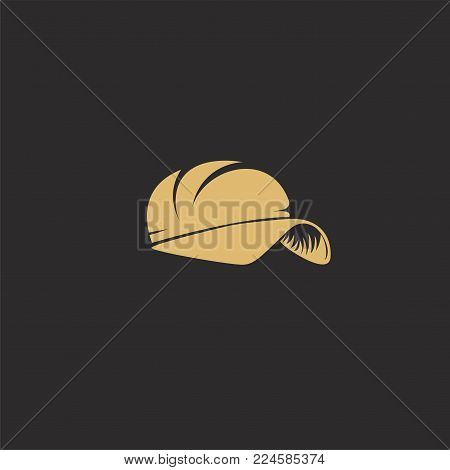 golden rapper cap on black background vector illustration design.
