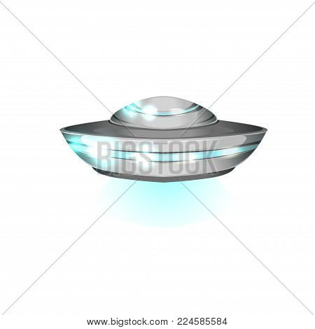 Saucer shaped flying craft. Futuristic extraterrestrial space ship. Detailed metallic or silver UFO with blue lights. Alien theme. Colorful vector design in flat style isolated on white background.