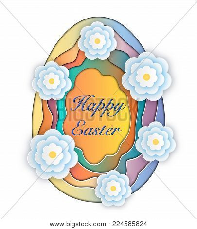 Happy Easter greeting card.Paper cut easter egg with flowers on white background.Vector illustration.