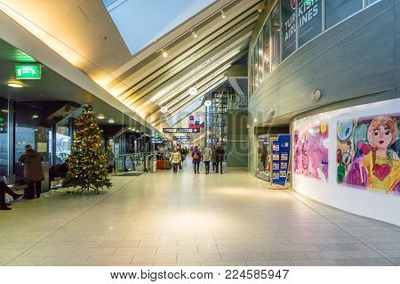 Tallinn, Estonia - January 2018:Tallinn Airport architecture. Tallinn Airport is the main airport in Estonia.