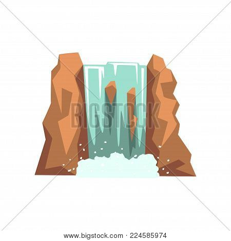 Cartoon river waterfall. Fresh natural spring water. Graphic design element for travel brochure, children s book or mobile game. Colorful vector illustration in flat style isolated on white background
