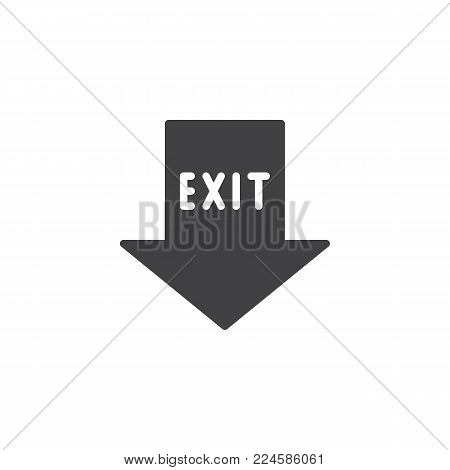 Emergency exit pointer icon vector, filled flat sign, solid pictogram isolated on white. Fire exit arrow symbol, logo illustration.
