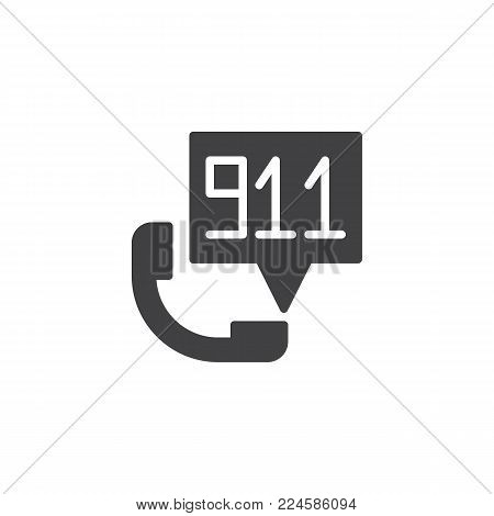 Emergency calling service icon vector, filled flat sign, solid pictogram isolated on white. Handset and speech bubble with 911 number inside symbol, logo illustration.
