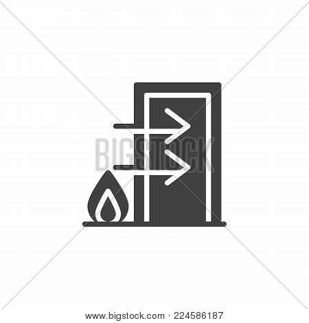 Fire exit icon vector, filled flat sign, solid pictogram isolated on white. Emergency exit symbol, logo illustration.