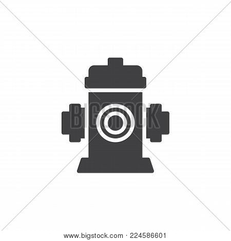 Fire fighting hydrant icon vector, filled flat sign, solid pictogram isolated on white. Fire safety symbol, logo illustration.