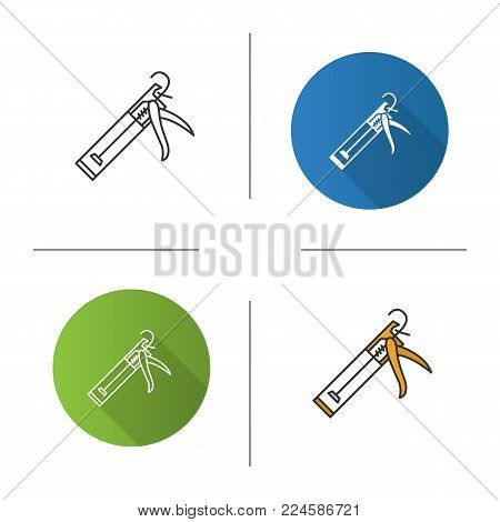 Caulking gun icon. Flat design, linear and color styles. Isolated vector illustrations