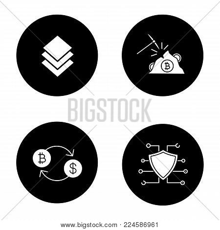 Cryptocurrency glyph icons set. Stratis coin, mining, bitcoin exchange, cyber security. E-currency. Vector white silhouettes illustrations in black circles