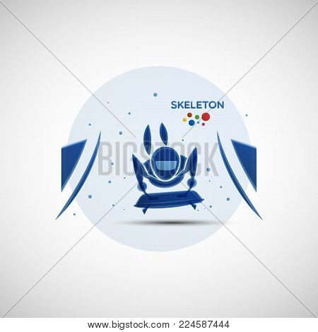 Skeleton championship banner. Winter sports icon. Abstract sportsman silhouette. Vector illustration of skeleton athlete riding face down on the flat sled for your design