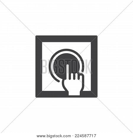 Push alarm button icon vector, filled flat sign, solid pictogram isolated on white. Symbol, logo illustration.