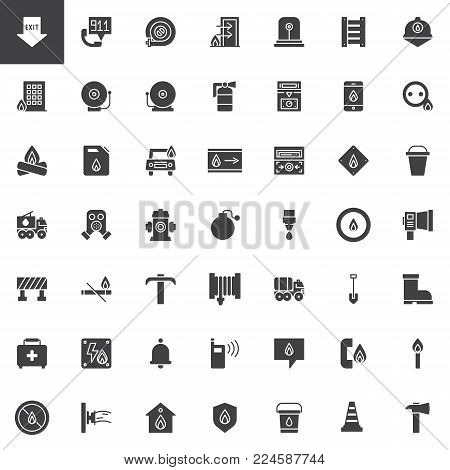 Fire department vector icons set, modern solid symbol collection, filled style pictogram pack. Signs, logo illustration. Set includes icons as emergency, flame, hose, extinguisher, firefighter, match