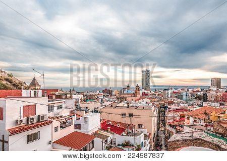 Alicante, Spain, December 14, 2017: Panoramic view of Alicante city, Costa Blanca, Spain