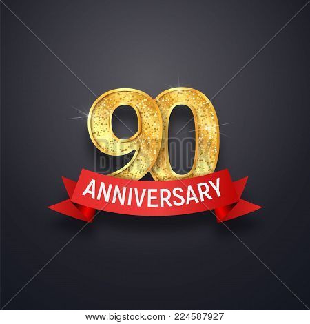Ninety anniversary logo template. 90th years celebrating golden numbers with red ribbon vector design elements