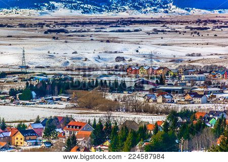 Aerial view at Kupres ski resort village in Europe, tourist resort in Central Bosnia, Europe.