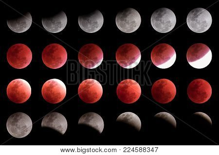 Super Blue Blood Moon Timeline Collection. Captured In Bangkok Composed Of Several Photos Depicting