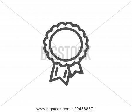Success line icon. Winner medal sign. Award reward symbol. Glory or Honor. Quality design element. Editable stroke. Vector