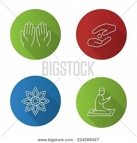 Islamic culture flat design long shadow glyph icon. Praying hands and muslim, islamic star, zakat. Vector silhouette illustration