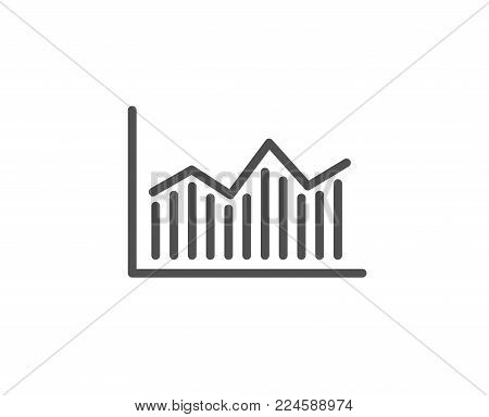 Financial chart line icon. Economic graph sign. Stock exchange symbol. Business investment. Quality design element. Editable stroke. Vector
