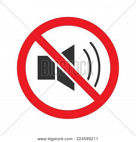 Forbidden sign with loudspeaker glyph icon. Stop silhouette symbol. No loud music prohibition. Negative space. Vector isolated illustration