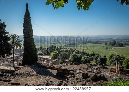 Scenic view of archeological set of Madinat al-Zahra, Cordoba, Spain