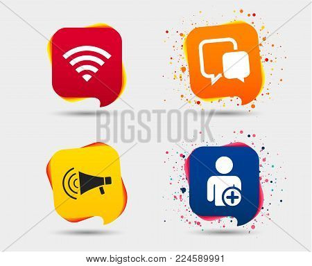 Wifi and chat bubbles icons. Add user and megaphone loudspeaker symbols. Communication signs. Speech bubbles or chat symbols. Colored elements. Vector