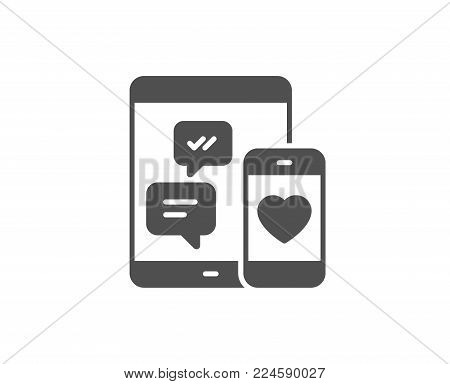 Social media messages simple icon. Mobile devices sign. Smartphone Love message symbol. Quality design elements. Classic style. Vector