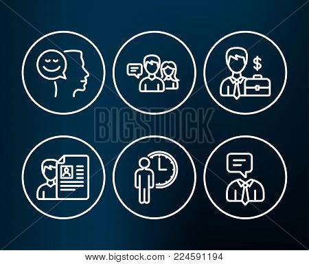 Set of Job interview, Waiting and People talking icons. Businessman case, Good mood and Support service signs. Cv file, Service time, Human resources. Positive thinking, Human talking. Vector