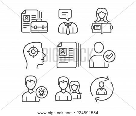 Set of Vacancy, Couple and Woman read icons. Recruitment, Cv documents and Person idea signs. Identity confirmed, Support service and Person info symbols. Hiring job, Male and female, Girl studying