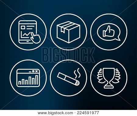 Set of Smoking, Feedback and Marketing statistics icons. Parcel, Internet report and Winner signs. Cigarette, Speech bubble, Web analytics. Shipping box, Web tutorial, Sports achievement. Vector