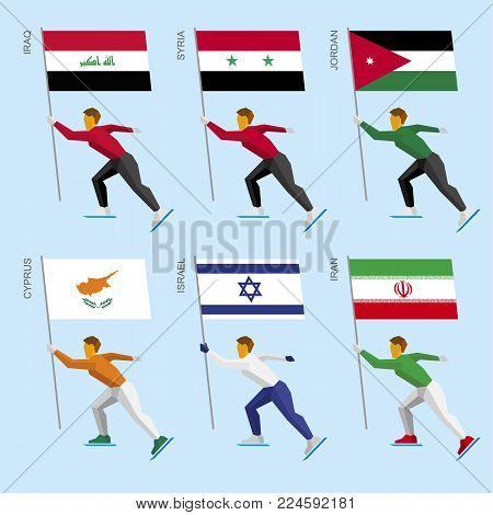 Set of simple flat athletes skating with flags of Middle East countries. Standard bearers of Iraq, Iran, Jordan, Syria, Cyprus, Israel. Winter sport competition icon set.