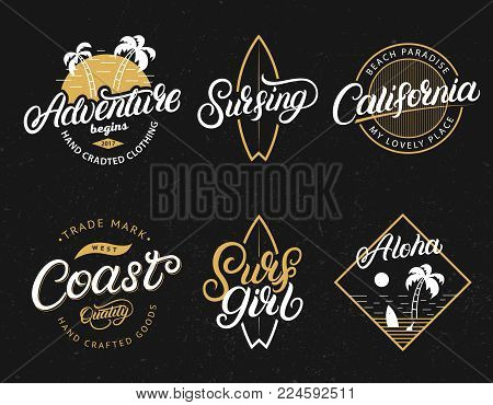 Set of Adventure, California, Surfgirl, Surfing, Aloha hand written lettering prints. Apparel design for tee print. Vintage style. Isolated on background. Vector illustration.