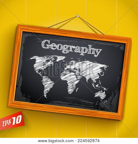 Hand drawn lettering geography and world map on chalkboard with wooden frame on yellow background vector illustration