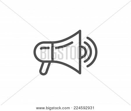 Megaphone line icon. Advertisement device symbol. Communication sign. Quality design element. Editable stroke. Vector