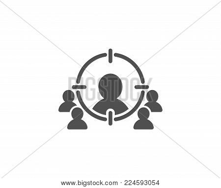 Business targeting simple icon. Marketing target strategy symbol. Aim with people sign. Quality design elements. Classic style. Vector