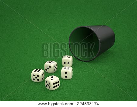 Dice game with dice cup on green table. Combination of dice - Full House. 3D rendering