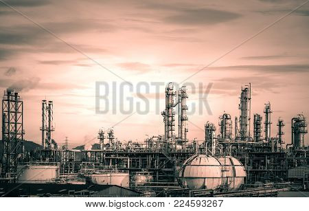 Manufacturing of petrochemical industry, Background of industrial concept, Petroleum fossils factories with distillation tower, Oil and gas refining industry with monotone color