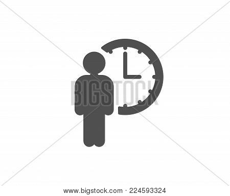 Person waiting simple icon. Service time sign. Clock symbol. Quality design elements. Classic style. Vector
