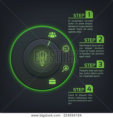 Abstract web interface infographics with round button green backlight and business icons on dark background vector illustration