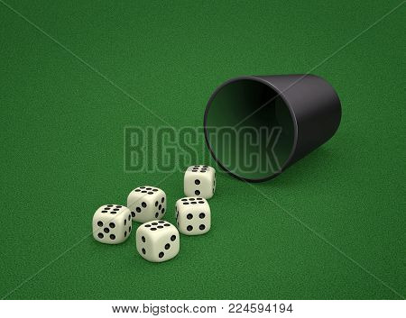 Dice game with dice cup on green table. Combination of dice - Poker. 3D rendering