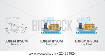 Logo steamship. Vector illustration on gray background.