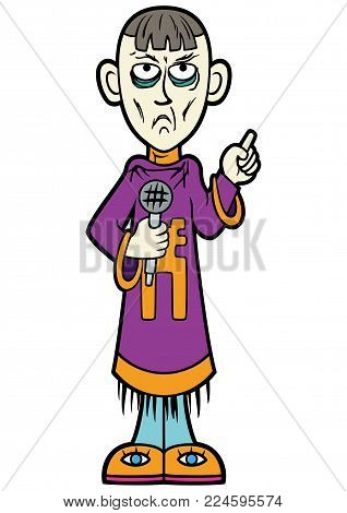 Illustration a psychic man with a microphone, dressed in exotic robes