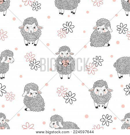 Cute Sheep Seamless Pattern. Vector Kids Background With Little Lambs.