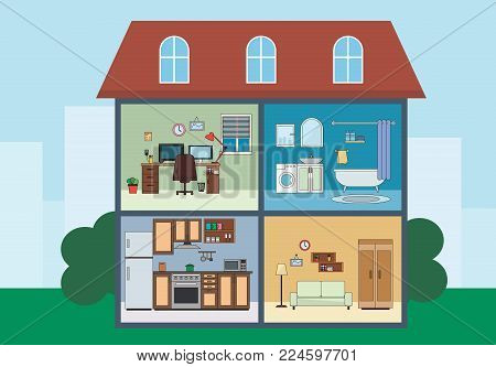 View of the house from the inside flat vector illustration. Apartment inside. Rooms with furniture. House design, living room, kitchen, home offic, bathroom.