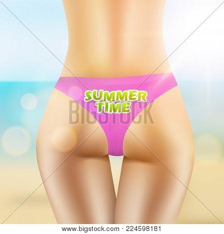 Sexy Female Ass In Bikini Summer Concept. Eps10 Vector