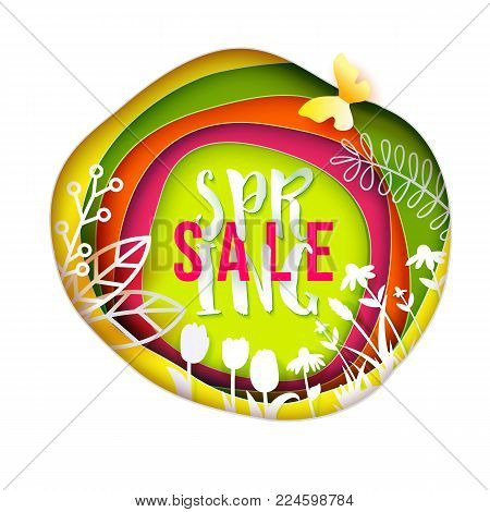 Spring Sale paper art layered background. Flowers, grass, butterfly cut out from white paper. Paper art. Vector illustration. Bright colors for business offer on web banner, greeting card, poster