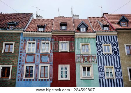 Poznan, Poland - December 30, 2017: Multicolored old houses on the main square in Poznan.