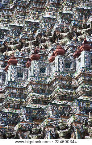 Bangkok, Thailand, Wat Arun Ratchawararam Ratchawaramahawihan or Wat Arun is a Buddhist temple. Fragment of the ornament.