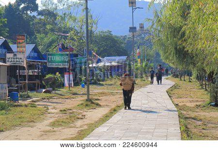 Pokhara Nepal - November 7, 2017: Unidentified People Visit Fhewa Lake Waterfront Park In Pokhara Ne