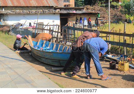 Pokhara Nepal - November 7, 2017: Unidentified People Build Boat In Pokhara Nepal.
